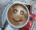 Café con leche sonriente