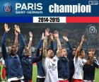 Paris Saint Germain, PSG, campeón de Ligue 1 2014-2015, la liga francesa de fútbol
