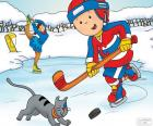 Caillou y Gilbert, hockey