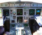 Cabina de un avión con sus instrumentos y controles