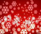 Fondo rojo copos de nieve
