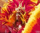 Vestido naranja de Carnaval