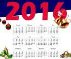 Calendario anual de 2016, con los días, semanas, meses