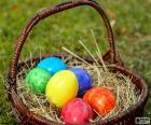 Cesto de huevos Pascua
