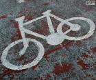 Bicicleta pintada, señal