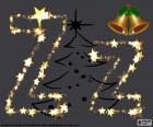 La letra Z mayúscula y minúscula hechas con estrellas de Navidad