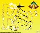 Letra R con fondo de Navidad