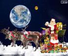 El trineo de Santa Claus sobre las nubes