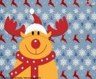 Bonito dibujo de el reno Rodolfo abrigado con bufanda y gorro de Papá Noel