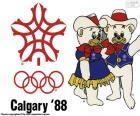 Logo y las mascotas Howdy y Hidy de los Juegos Olímpicos de Calgary 1988, Canadá. Donde participaron 1423 atletas de 57 países