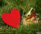 Corazón y conejo de Pascua
