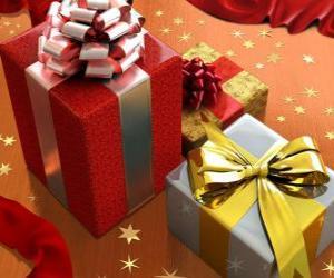 Puzzle de Regalos de Navidad con cintas, lazos