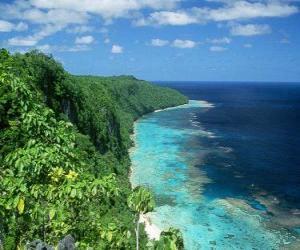 Puzzle de Rennell Este, es el atolón de coral elevado más grande del mundo. Islas Salomón.