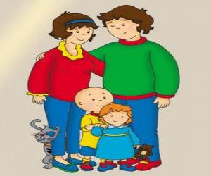 Puzzle de Retrato de la familia de Caillou, su hermana pequeña Rosie, su padre Boris, su madre Doris y el gato Gilbert
