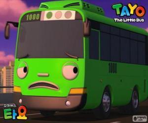 Puzzle de ROGI un autobús verde divertido y travieso