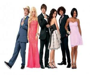 Puzzle de Ryan Evans (Lucas Grabeel), Sharpay Evans (Ashley Tisdale), Troy Bolton (Zac Efron), Gabriella Montez (Vanessa Hudgens), Chad (Corbin Bleu), Taylor (Monique Coleman) muy elegantes