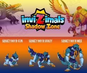 Puzzle de Sabretooth Cub, Sabretooth Scout, Sabretooth Max. Invizimals La otra dimensión. El guardián del parque que sueña en convertirse en un superhéroe