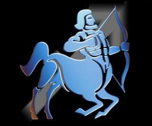 Puzzle de Sagitario. El centauro, el arquero. Noveno signo del zodíaco. Nombre en latín es Sagittarius