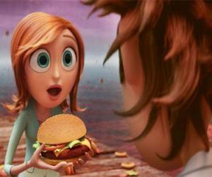 Puzzle de Sam sorprendida enseña a Flint una hamburguesa