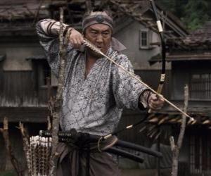 Puzzle de Samurái disparando su arco