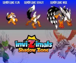 Puzzle de Sandflame Cub, Sandflame Scout, Sandflame Max. Invizimals La otra dimensión. Estos invizimals han protegido durante siglos las tumbas de los faraones