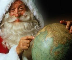 Puzzle de Santa Claus con una bola del mundo