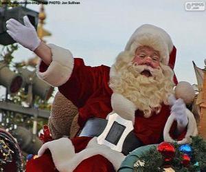 Puzzle de Santa Claus con una sonrisa saluda a los niños