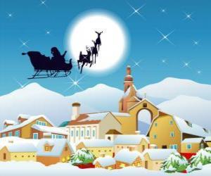 Puzzle de Santa Claus en su trineo volador tirado por los renos mágicos