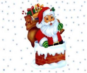 Puzzle de Santa Claus entrando por la chimenea cargado con muchos regalos