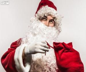 Puzzle de Santa Claus feliz con los regalos de Navidad
