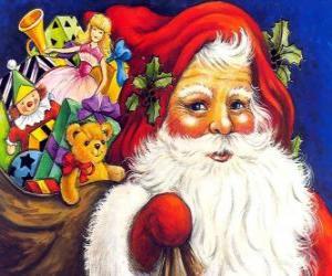 Puzzle de Santa Claus o Papá Noel con el gran saco lleno de juguetes para regalar a los niños por Navidad