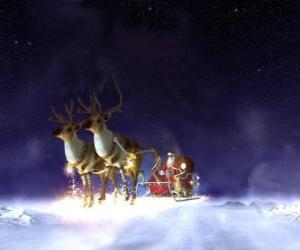 Puzzle de Santa Claus volando en su trineo de Navidad tirado por los renos mágicos