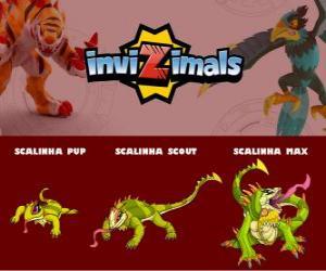 Puzzle de Scalinha en sus tres fases Scalinha Pup, Scalinha Scout y Scalinha Max, de Invizimals
