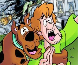 Puzzle de Scooby-Doo y su amigo Shaggy huyendo asustados