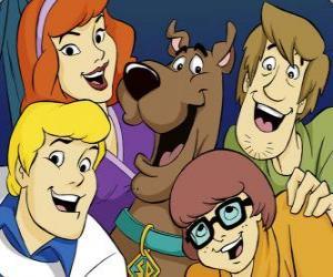 Puzzle de Scooby Doo y toda la banda: Shaggy, Vilma, Fred y Daphne