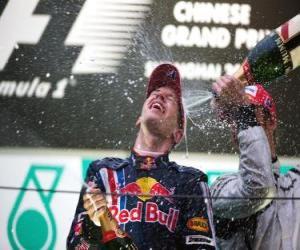 Puzzle de Sebastian Vettel en el pódium