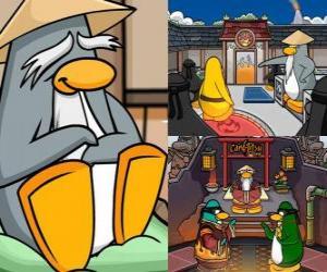 Puzzle de Sensei es un pingüino muy sabio que vive en el Dojo y les enseña a los pingüinos a ser ninjas