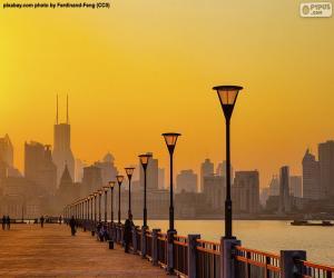 Puzzle de Shanghái desde el río Huangpu