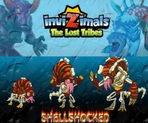 Puzzle de Shellshocked, última evolución. Invizimals Las Tribus Perdidas. Una excéntrica criatura mágica que vive solitaria en las cuevas