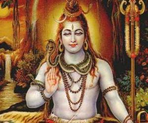 Puzzle de Shivá o Shiva - Dios destructor en el Trimurti, la Trinidad hindú