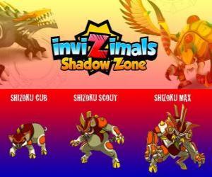 Puzzle de Shizoku Cub, Shizoku Scout, Shizoku Max. Invizimals La otra dimensión. Un cerdo samurai que proviene del Japón feudal, un guerrero con armadura