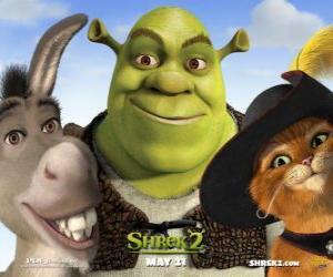 Puzzle de Shrek, el ogro, con sus amigos el Burro y el Gato con Botas