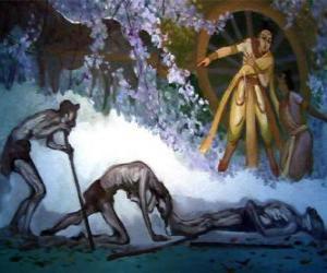 Puzzle de Siddhartha Gautama y su primera visión de la vejez