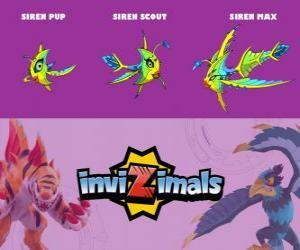 Puzzle de Siren en sus tres fases Siren Pup, Siren Scout y Siren Max, de Invizimals