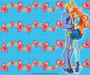 Puzzle de Sky, el príncipe de Eraklion y Bloom enamorados