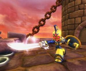 Puzzle de Skylander Chop Chop, un duro guerrero con espada y escudo. Skylanders Muertos Vivientes