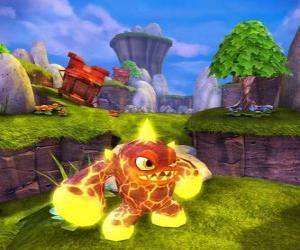 Puzzle de Skylander Eruptor, una criatura que lanza bolas de fuego y llamas. Skylanders Fuego