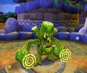 Puzzle de Skylander Stump Smash, la criatura martillo tiene troncos en vez de brazos. Skylanders Vida
