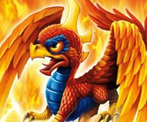 Puzzle de Skylander Sunburn, un dragón alado. Skylanders Fuego