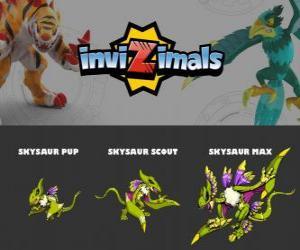 Puzzle de Skysaur en sus tres fases Skysaur Pup, Skysaur Scout y Skysaur Max, de Invizimals